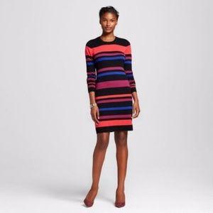 NEW Striped Knit L/S Sweater Shift Dress [A9]